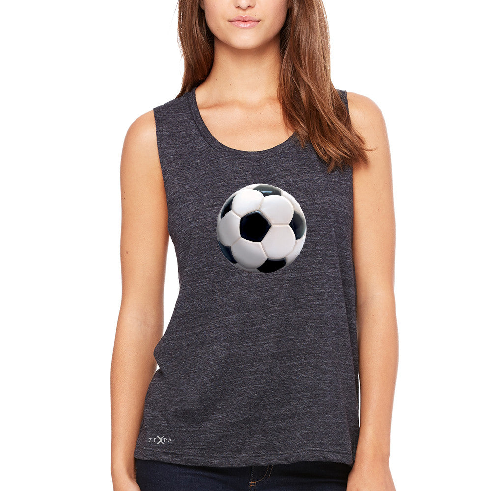 Real 3D Soccer Ball Women's Muscle Tee Soccer Cool Embossed Tanks - Zexpa Apparel - 1