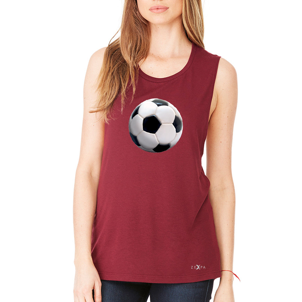 Real 3D Soccer Ball Women's Muscle Tee Soccer Cool Embossed Tanks - Zexpa Apparel - 4