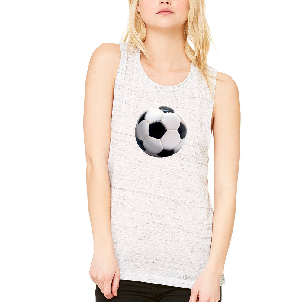 Real 3D Soccer Ball Women's Muscle Tee Soccer Cool Embossed Tanks - Zexpa Apparel - 5