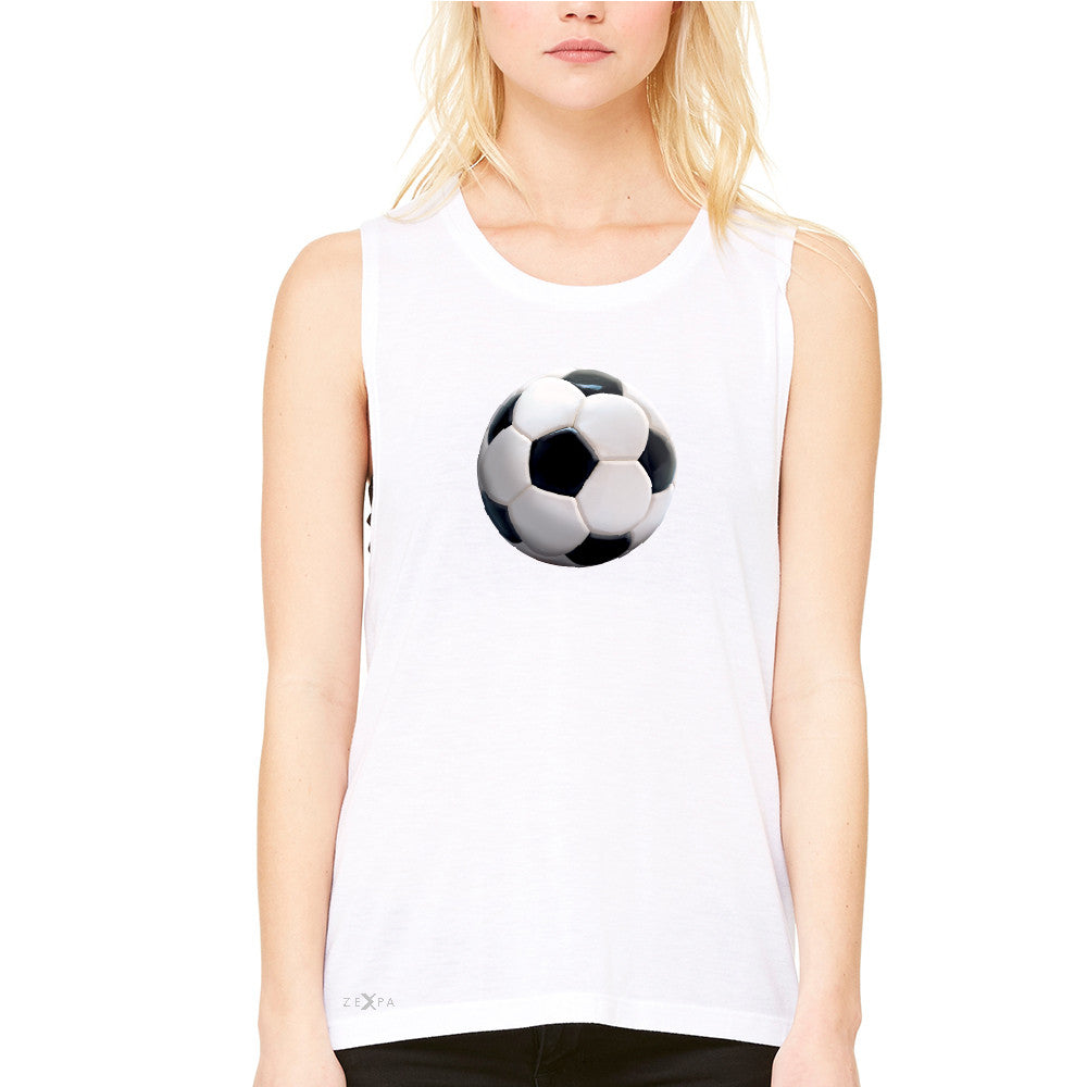 Real 3D Soccer Ball Women's Muscle Tee Soccer Cool Embossed Tanks - Zexpa Apparel - 6