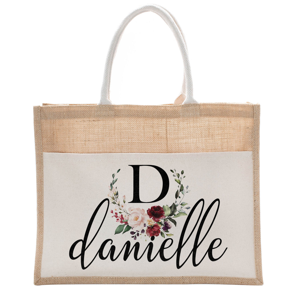 Personalized Luxury Totebag | Cusomized Floral Cotton Canvas Tote Bag For Bachelorette Party Beach Workout Yoga Pilates Vacation Bridesmaid and Daily Use Totes Design #2