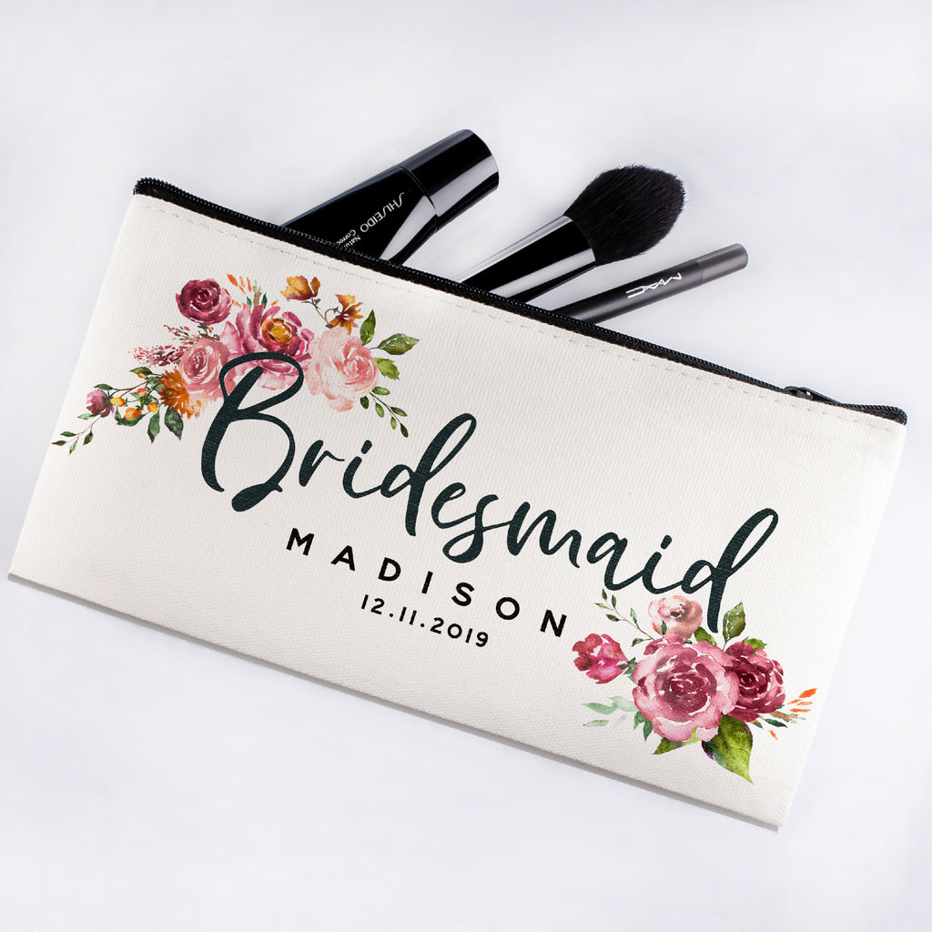 Personalized Makeup Bag Bridesmaid | Wedding Customized Pouch | Bachelorette Party Cosmetic Case |Toiletries Hndy Organizer with Zipper|Events Parties Baby Shower Anniversary Christmas Gift|Desging #8