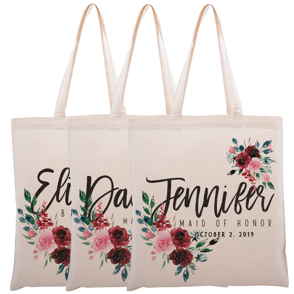 Personalized Tote Bag For Bridesmaids Wedding | Customized Bachelorette Party Bag | Baby Shower and Events Totes |Design #11