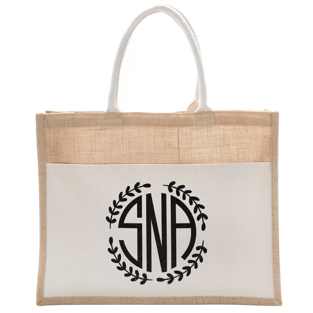 Personalized Monogram Tote Bag | Initial Luxury Totes for Beach, Yoga, Gym, Workout, Pilates with Pocket |Customized Baby Shower, Christmas, Bridal Gift Bags | Bachelorette Party and Events Gifts Bag
