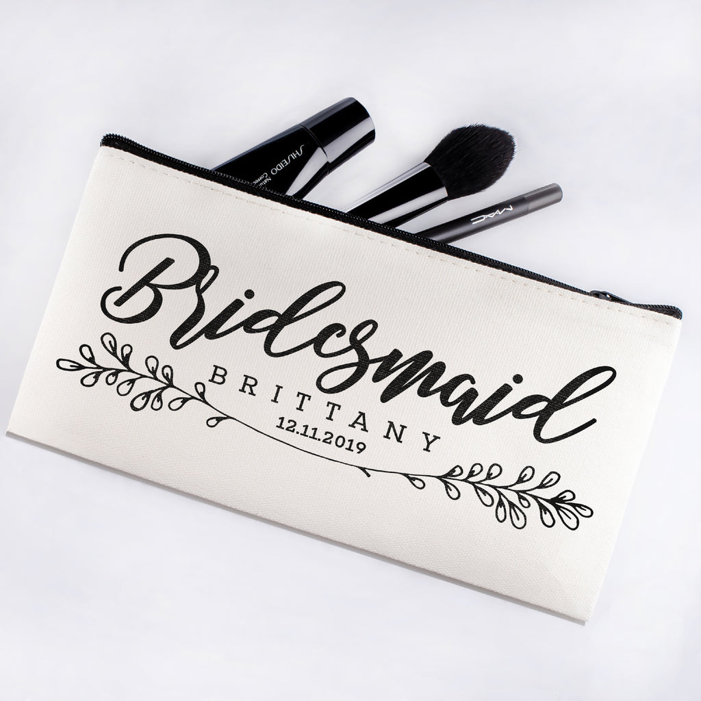 Personalized Makeup Bag Bridesmaid | Wedding Customized Pouch | Bachelorette Party Cosmetic Case |Toiletries Hndy Organizer with Zipper|Events Parties Baby Shower Anniversary Christmas Gift|Desging #16