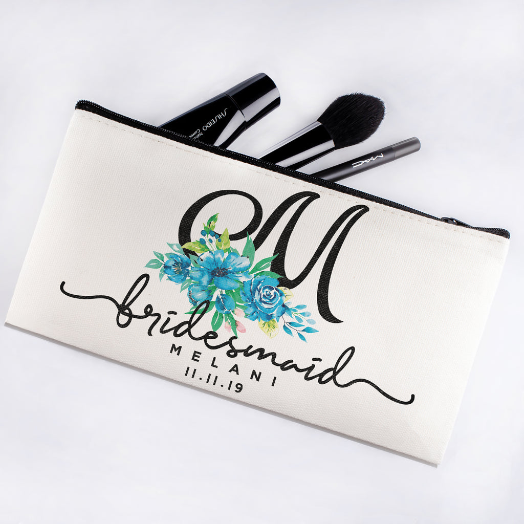Personalized Makeup Bag Bridesmaid | Wedding Customized Pouch | Bachelorette Party Cosmetic Case |Toiletries Hndy Organizer with Zipper|Events Parties Baby Shower Anniversary Christmas Gift|Desging #5