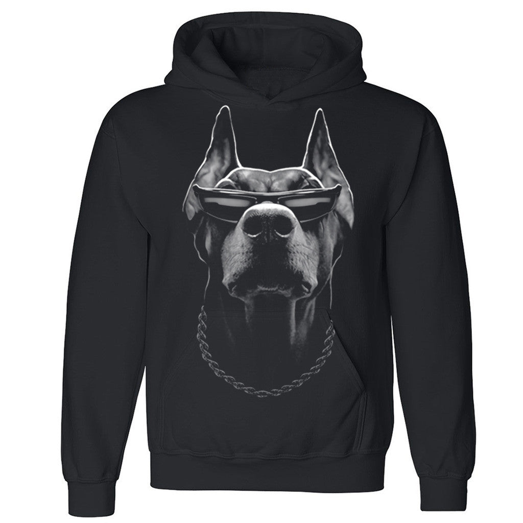 "Zexpa Apparelâ""¢ Doberman Boss Unisex Hoodie Whole Garment Print Dog Face Hooded Sweatshirt"