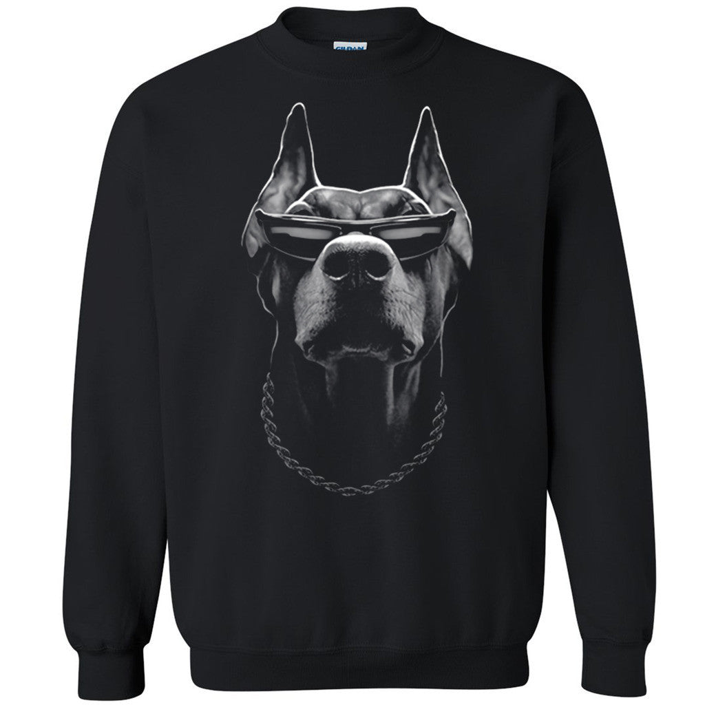 Doberman Boss Unisex Crewneck Whole Garment Print Dog Face Sweatshirt - Zexpa Apparel