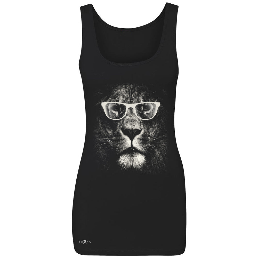 Lion With Glasses Women's Tank Top Graphic Cool Wild Animal Sleeveless - Zexpa Apparel - 1