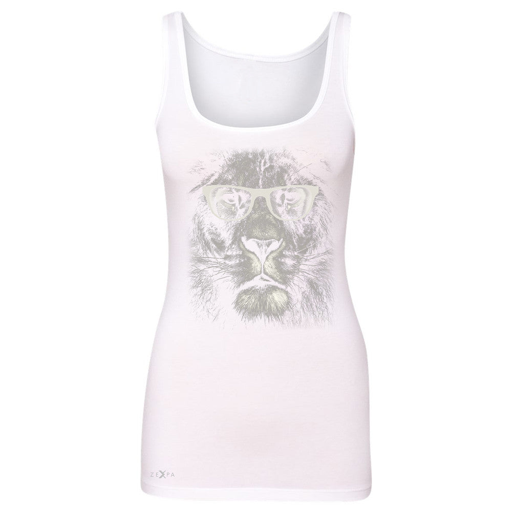 Lion With Glasses Women's Tank Top Graphic Cool Wild Animal Sleeveless - Zexpa Apparel - 4