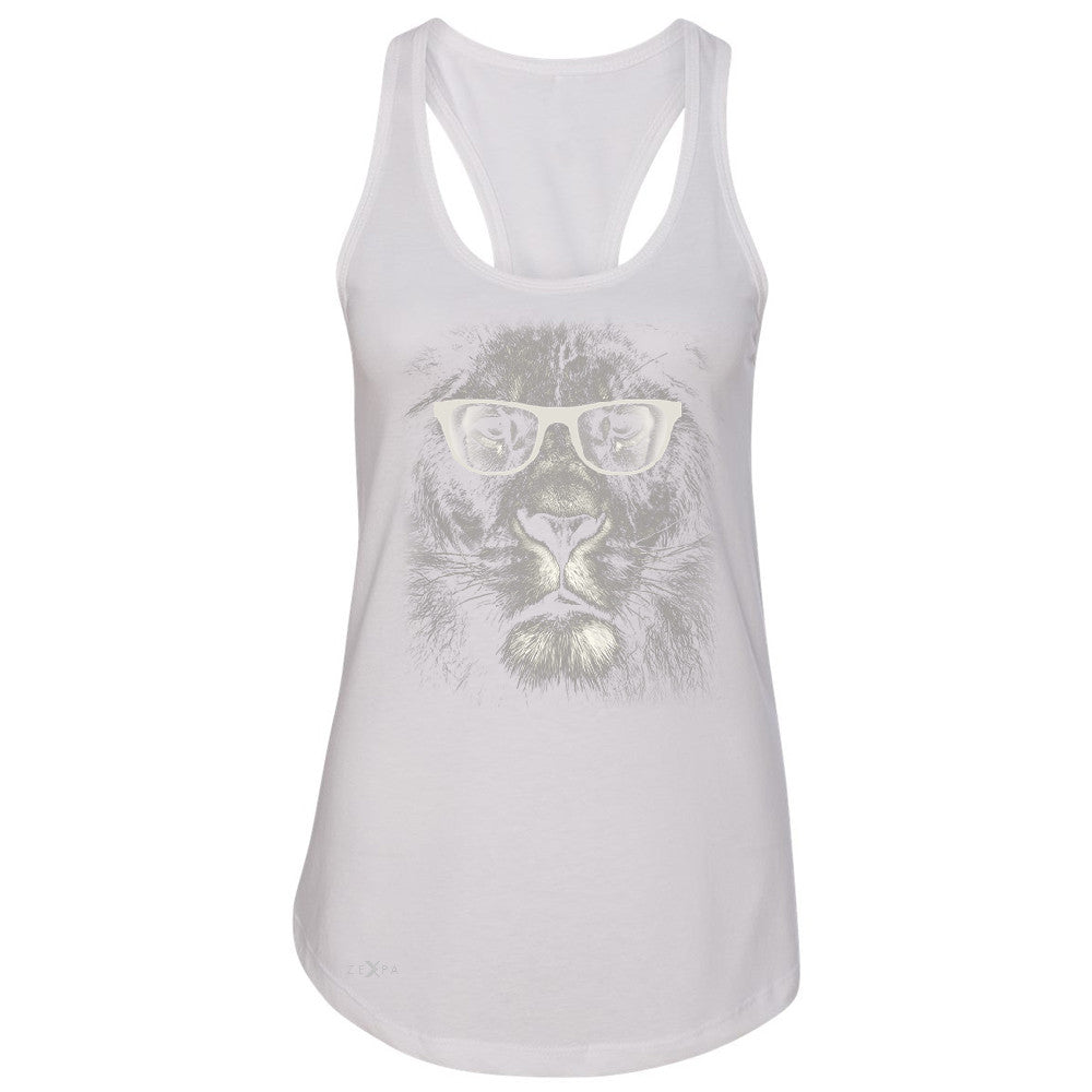 Lion With Glasses Women's Racerback Graphic Cool Wild Animal Sleeveless - Zexpa Apparel - 4