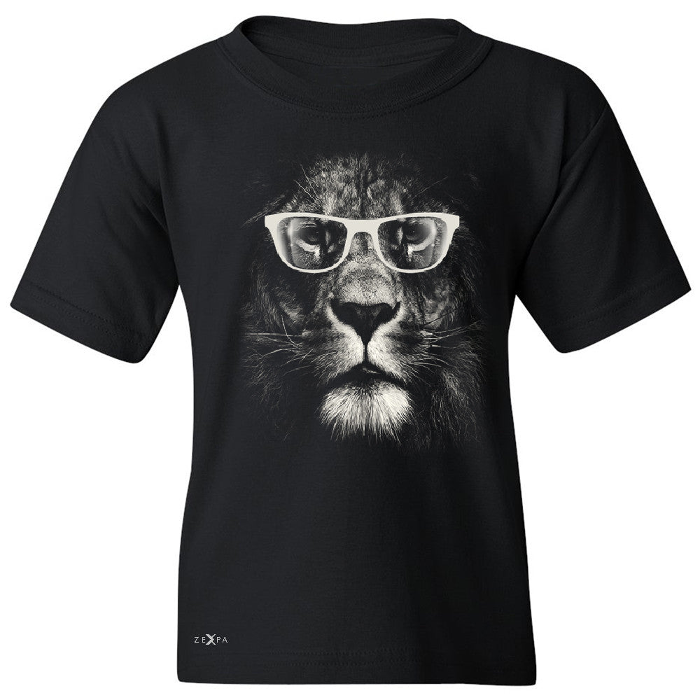 Lion With Glasses Youth T-shirt Graphic Cool Wild Animal Tee - Zexpa Apparel - 1