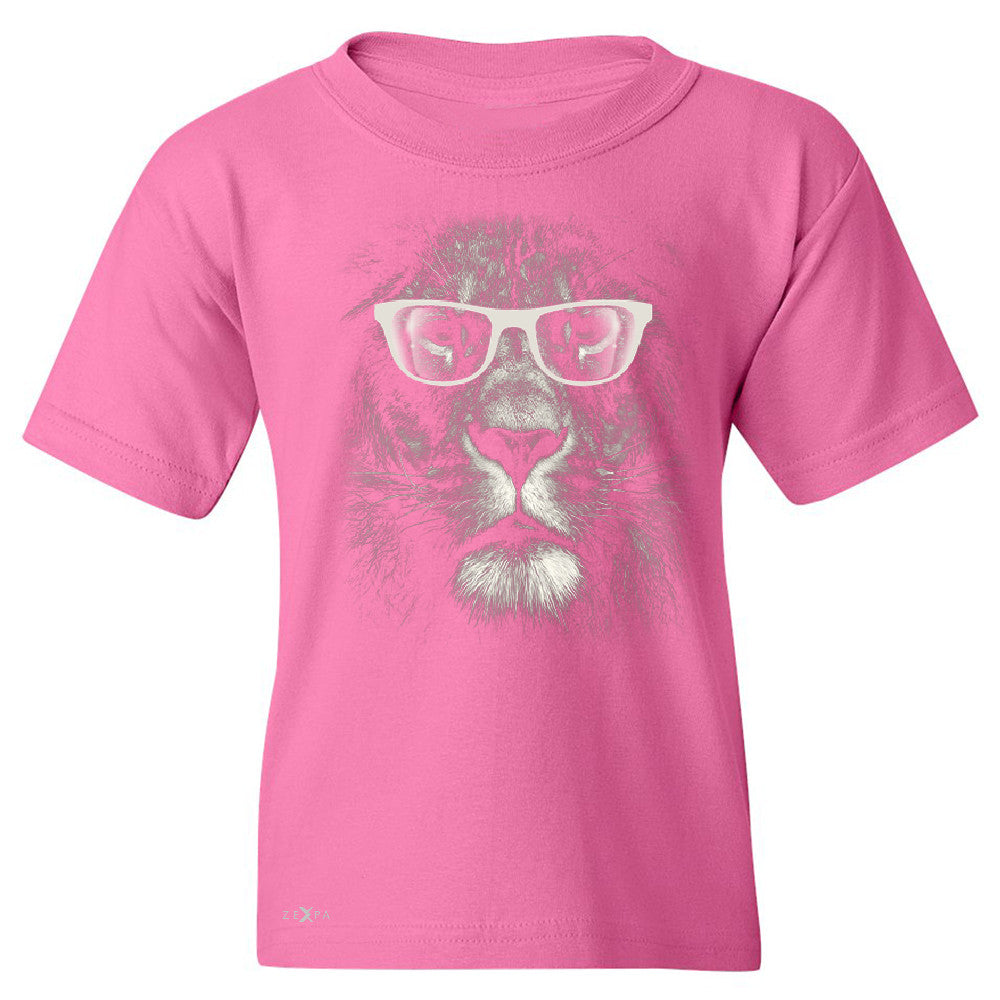 Lion With Glasses Youth T-shirt Graphic Cool Wild Animal Tee - Zexpa Apparel - 3