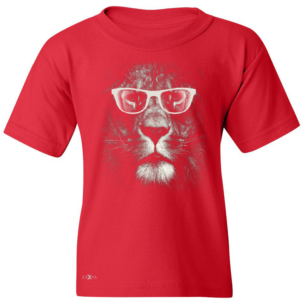 Lion With Glasses Youth T-shirt Graphic Cool Wild Animal Tee - Zexpa Apparel - 4