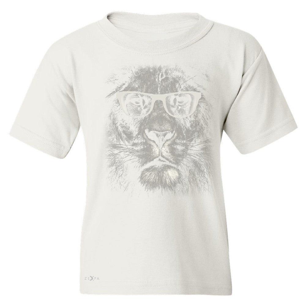Lion With Glasses Youth T-shirt Graphic Cool Wild Animal Tee - Zexpa Apparel - 5