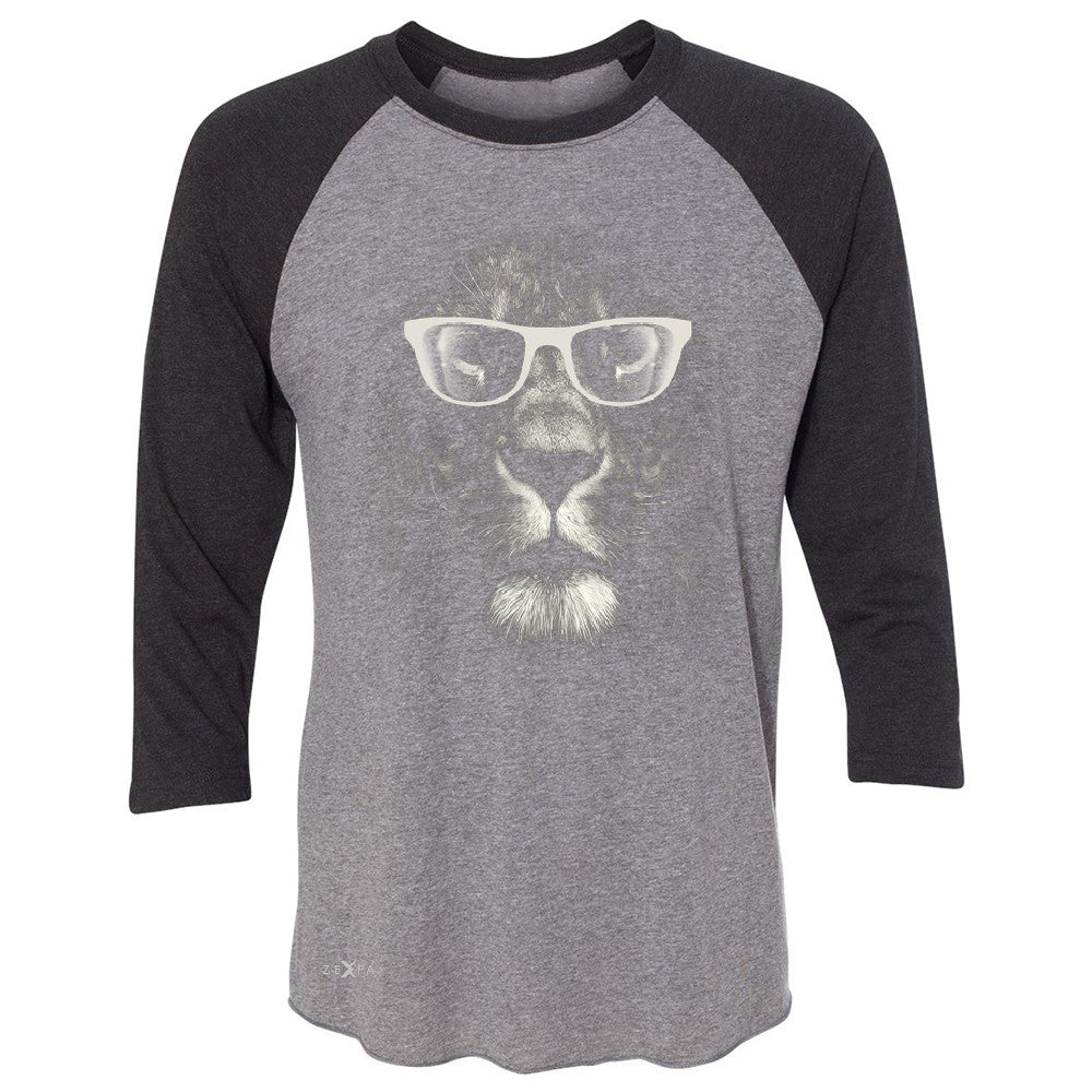 Lion With Glasses 3/4 Sleevee Raglan Tee Graphic Cool Wild Animal Tee - Zexpa Apparel - 1
