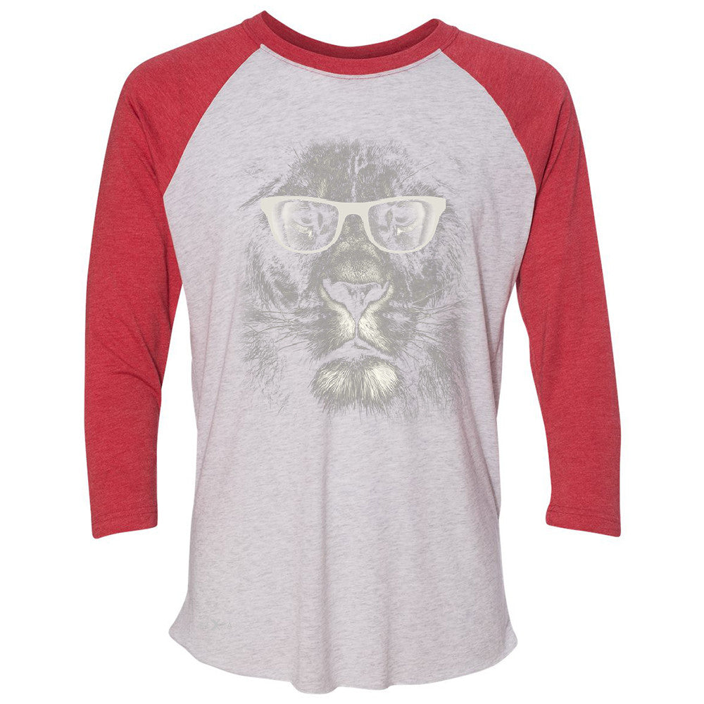 Lion With Glasses 3/4 Sleevee Raglan Tee Graphic Cool Wild Animal Tee - Zexpa Apparel - 2