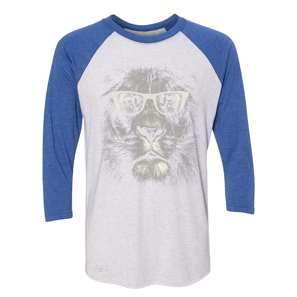 Lion With Glasses 3/4 Sleevee Raglan Tee Graphic Cool Wild Animal Tee - Zexpa Apparel - 3