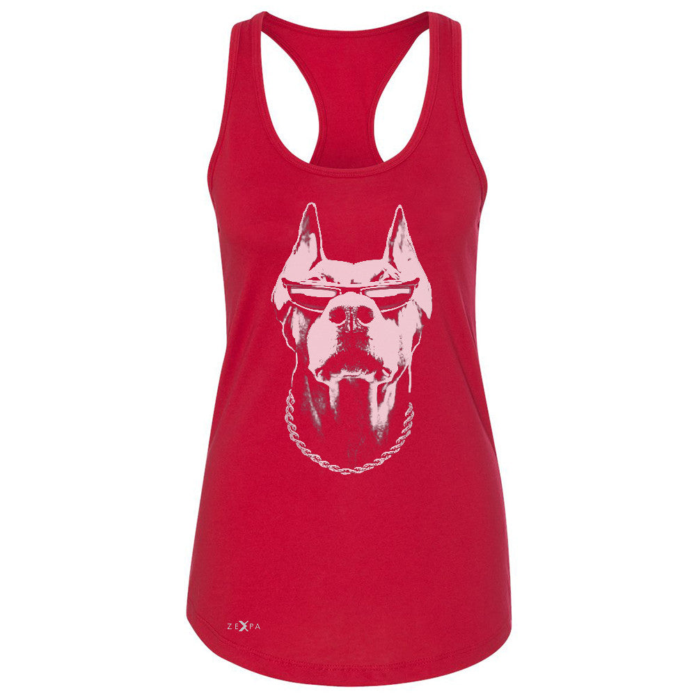 Cool Doberman with Sunglasses Women's Racerback Graphic Cool Dog Sleeveless - Zexpa Apparel Halloween Christmas Shirts