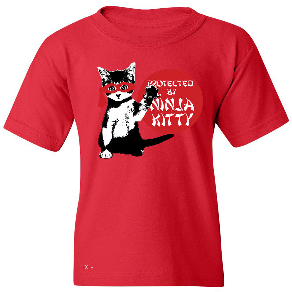 Protected By Ninja Kitty Graphic Youth T-shirt Animal Love Tee - Zexpa Apparel - 4