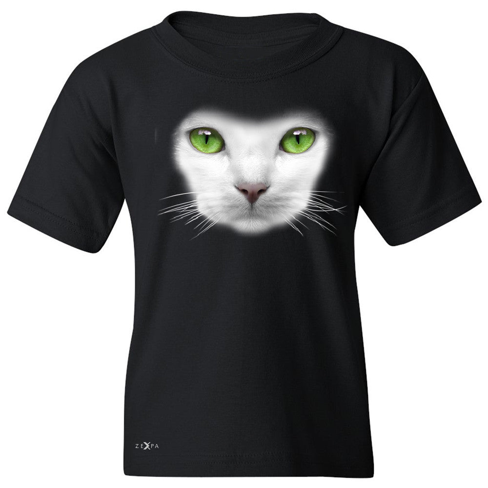 Elegant Cat with Green Eyes Youth T-shirt Beautiful Look Tee - Zexpa Apparel - 1