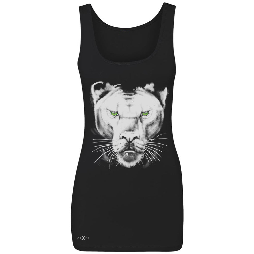 Majestic Panter with Green Eyes Women's Tank Top Wild Animal Sleeveless - Zexpa Apparel - 1