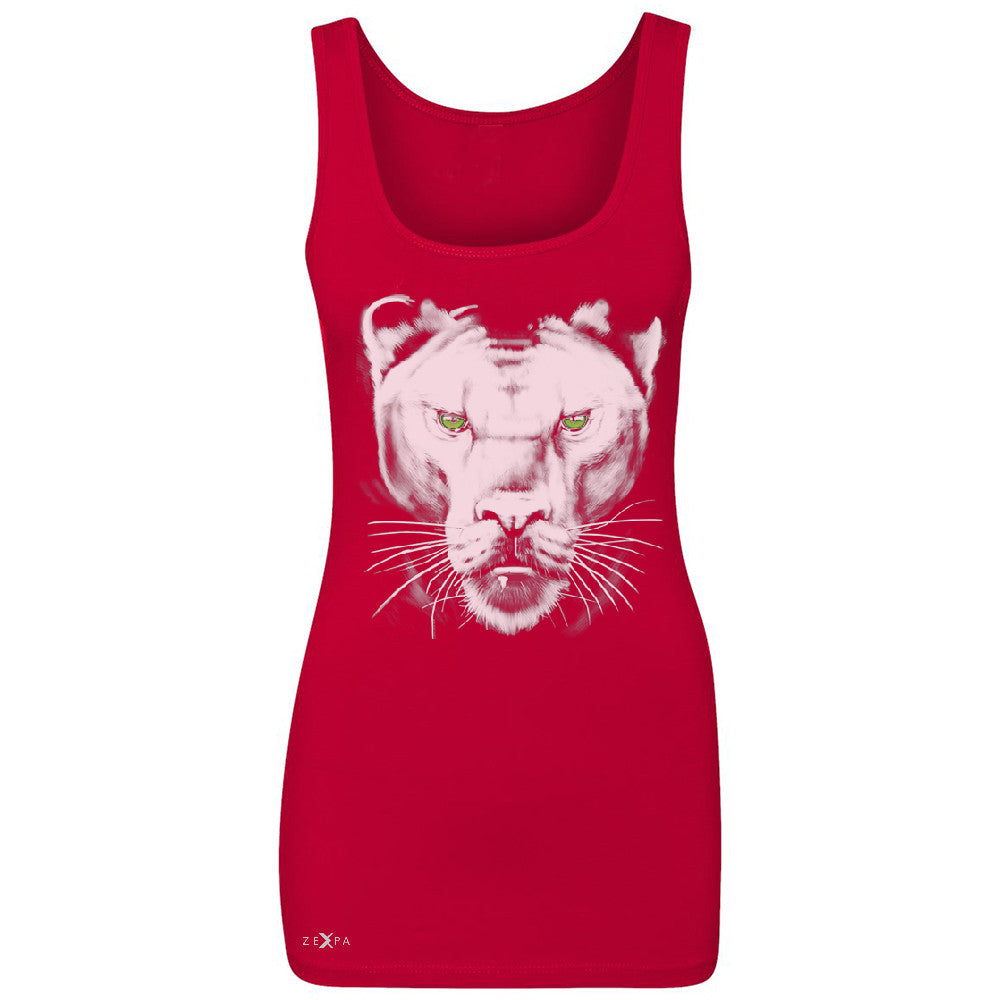 Majestic Panter with Green Eyes Women's Tank Top Wild Animal Sleeveless - Zexpa Apparel - 3