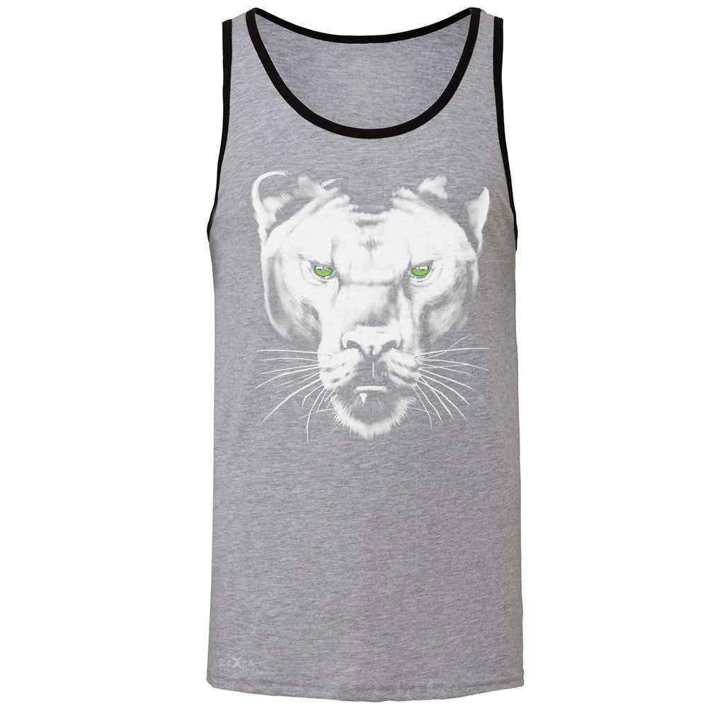 Majestic Panter with Green Eyes Men's Jersey Tank Wild Animal Sleeveless - Zexpa Apparel - 2