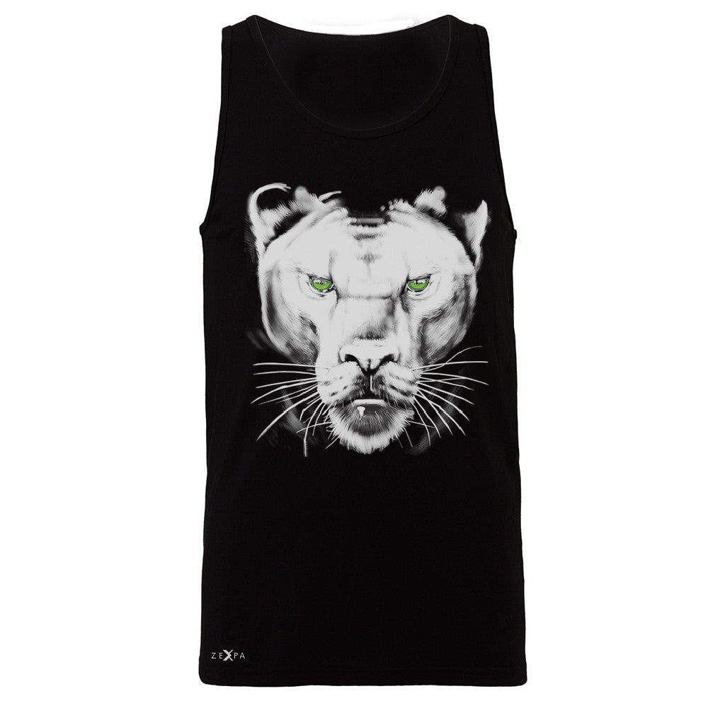 Majestic Panter with Green Eyes Men's Jersey Tank Wild Animal Sleeveless - Zexpa Apparel - 1