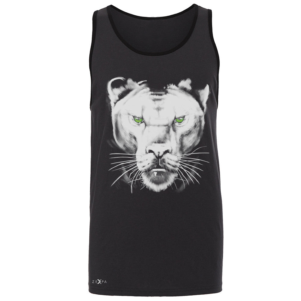 Majestic Panter with Green Eyes Men's Jersey Tank Wild Animal Sleeveless - Zexpa Apparel - 3