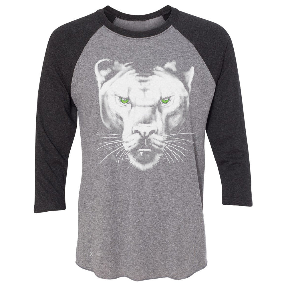 Majestic Panter with Green Eyes 3/4 Sleevee Raglan Tee Wild Animal Tee - Zexpa Apparel - 1