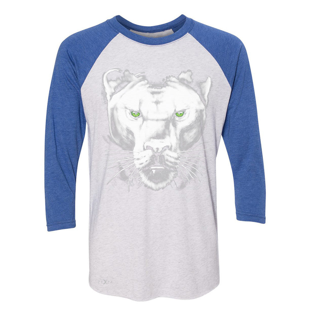Majestic Panter with Green Eyes 3/4 Sleevee Raglan Tee Wild Animal Tee - Zexpa Apparel - 3