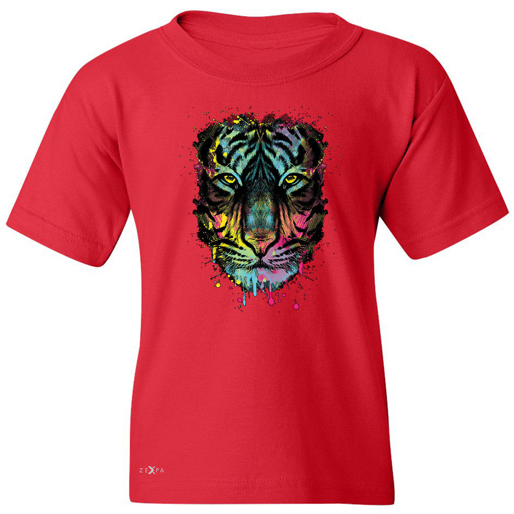 "Zexpa Apparelâ""¢ Neon Dripping Tiger Face  Youth T-shirt Graphic Wild Animal Tee - Zexpa Apparel Halloween Christmas Shirts"