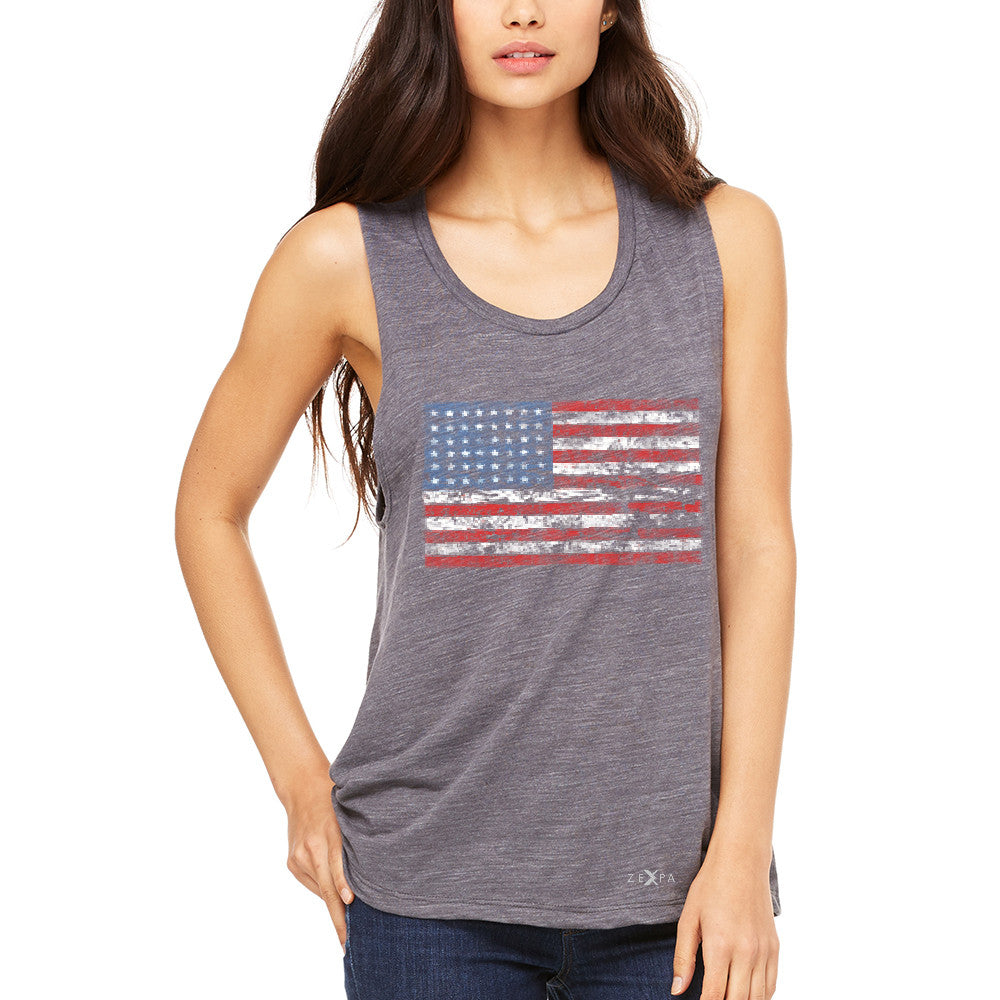 Distressed Atilt American Flag USA  Women's Muscle Tee Patriotic Tanks - Zexpa Apparel - 2