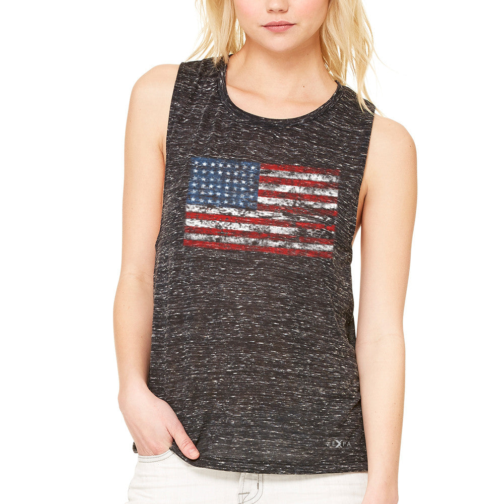 Distressed Atilt American Flag USA  Women's Muscle Tee Patriotic Tanks - Zexpa Apparel - 3