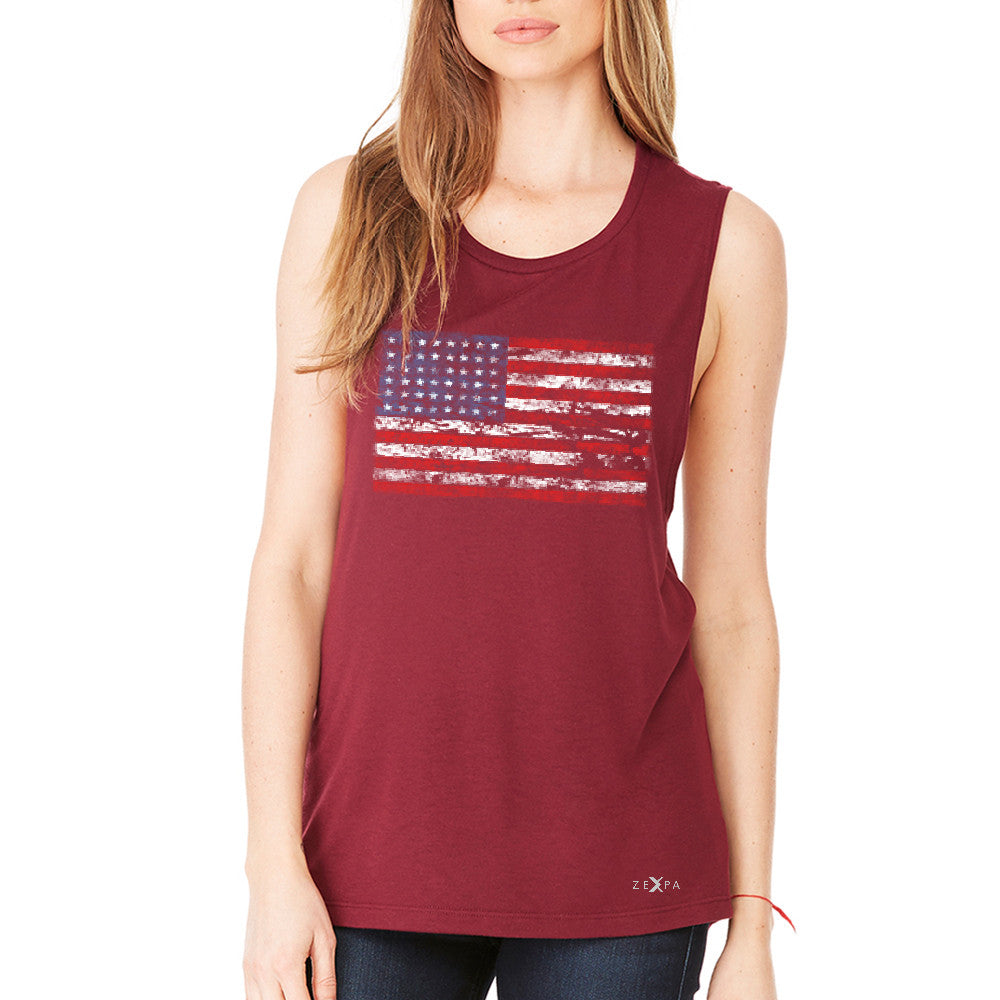 Distressed Atilt American Flag USA  Women's Muscle Tee Patriotic Tanks - Zexpa Apparel - 4