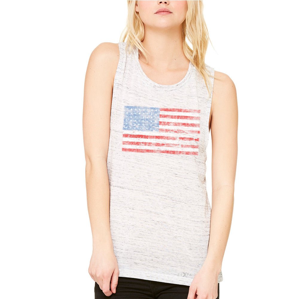 Distressed Atilt American Flag USA  Women's Muscle Tee Patriotic Tanks - Zexpa Apparel - 5