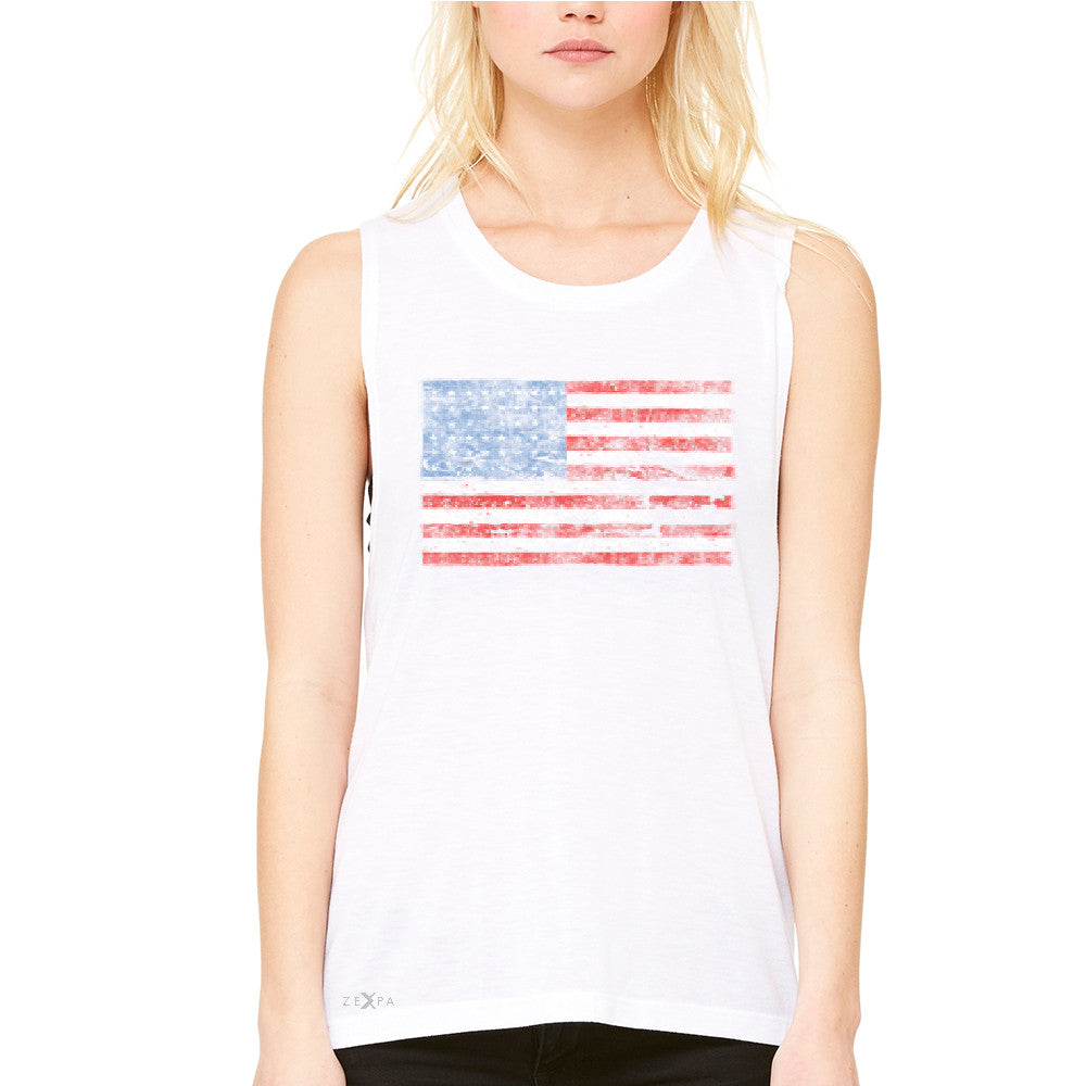 Distressed Atilt American Flag USA  Women's Muscle Tee Patriotic Tanks - Zexpa Apparel - 6