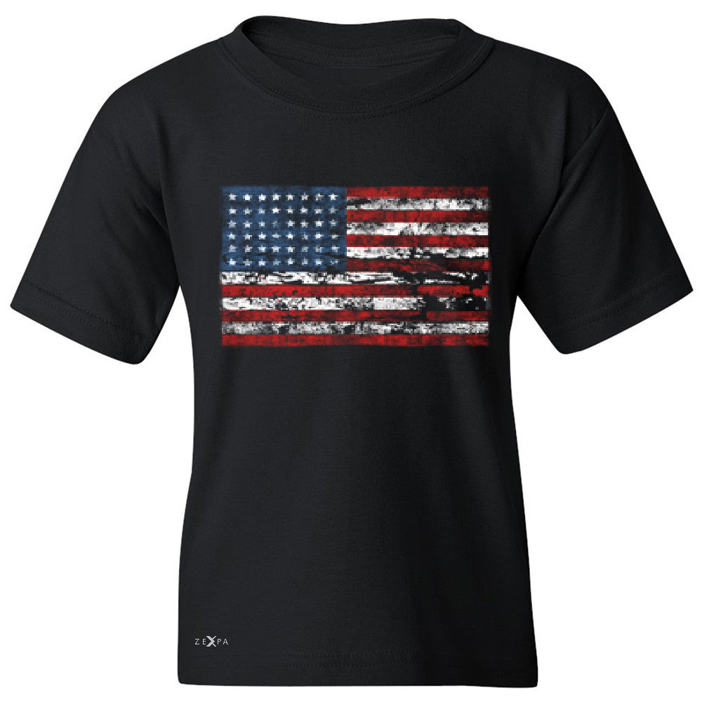 Distressed Atilt American Flag USA  Youth T-shirt Patriotic Tee - Zexpa Apparel - 1