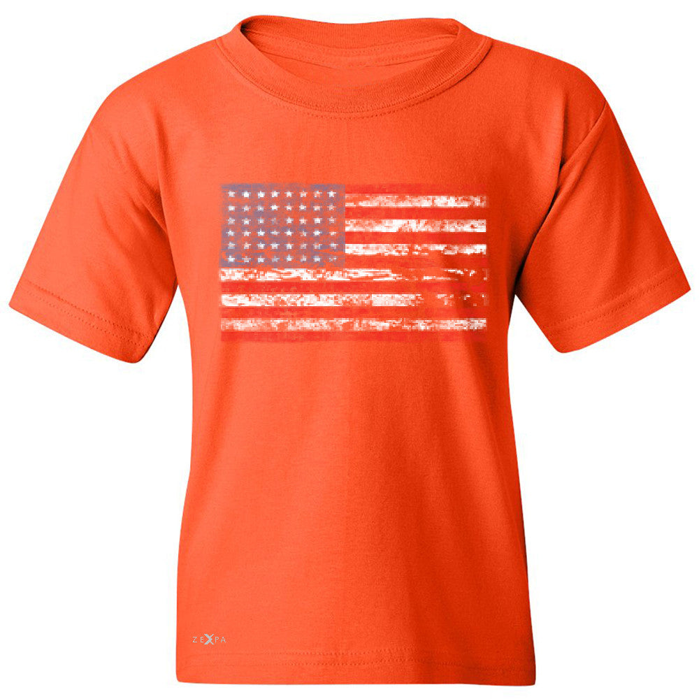 Distressed Atilt American Flag USA  Youth T-shirt Patriotic Tee - Zexpa Apparel - 2