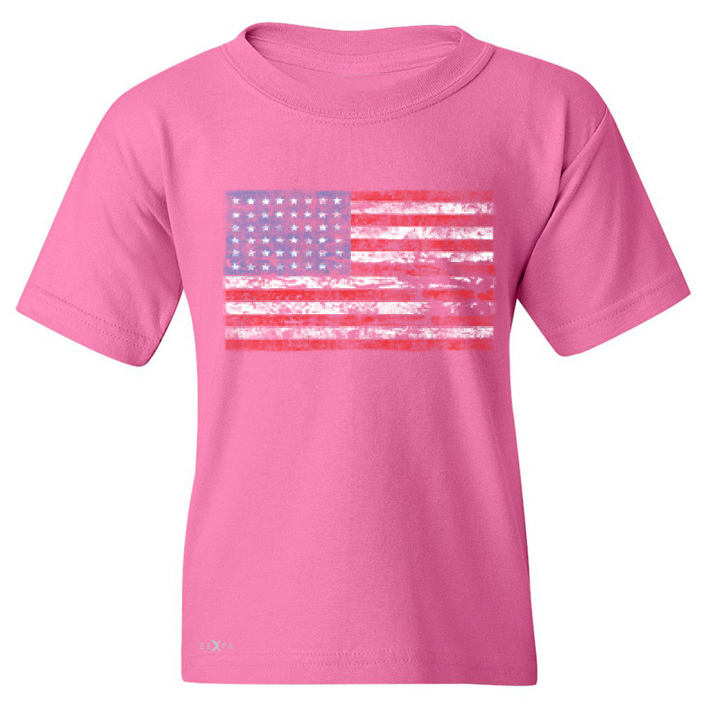 Distressed Atilt American Flag USA  Youth T-shirt Patriotic Tee - Zexpa Apparel - 3