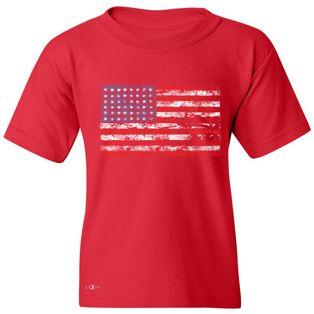 Distressed Atilt American Flag USA  Youth T-shirt Patriotic Tee - Zexpa Apparel - 4