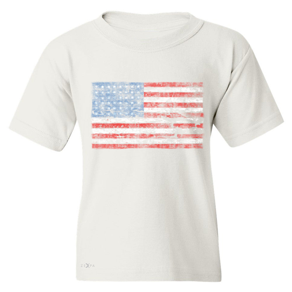 Distressed Atilt American Flag USA  Youth T-shirt Patriotic Tee - Zexpa Apparel - 5