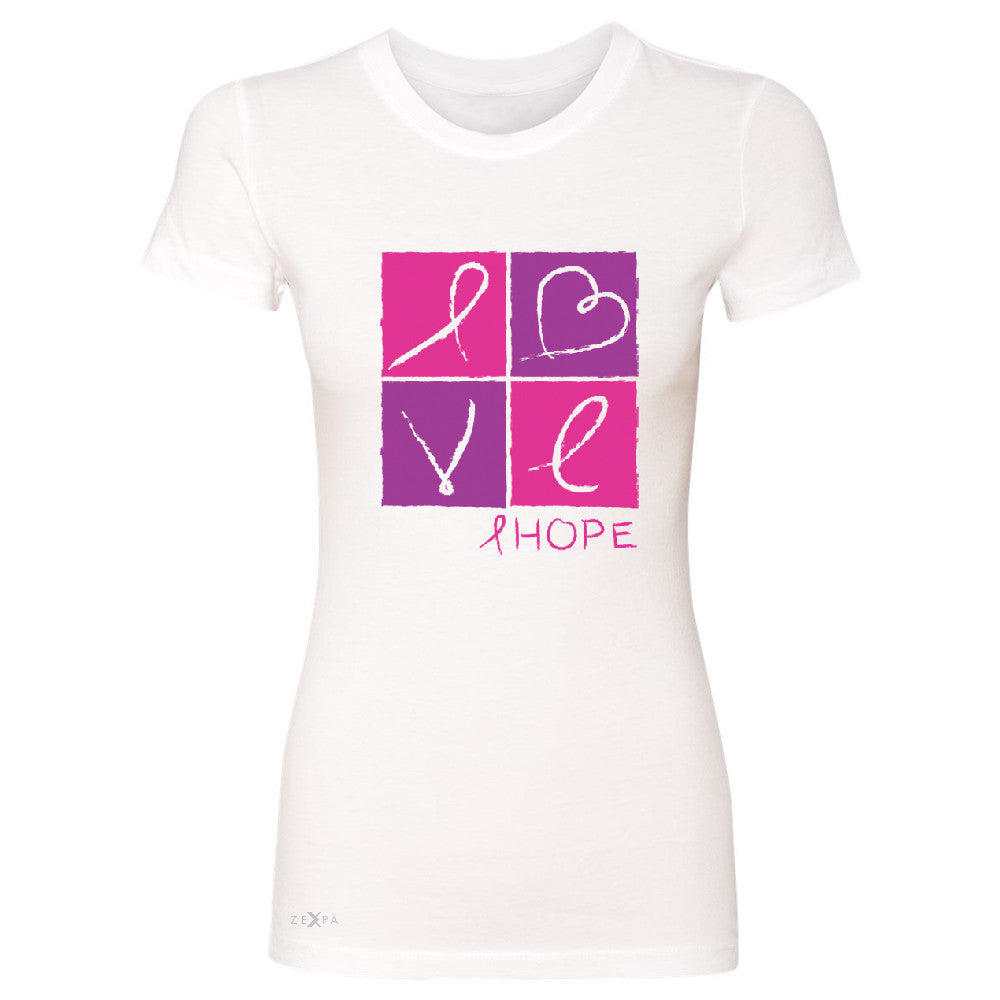 Hope Love Women's T-shirt Breast Cancer Awareness Month Support Tee - Zexpa Apparel - 5