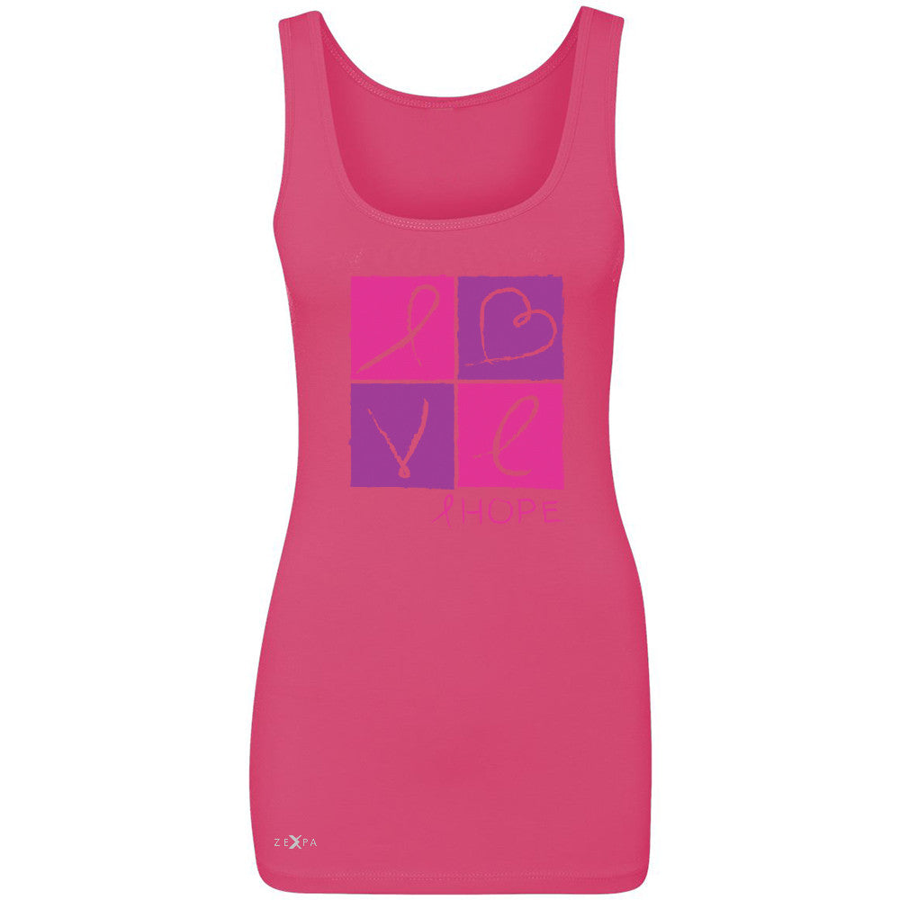 Hope Love Women's Tank Top Breast Cancer Awareness Month Support Sleeveless - Zexpa Apparel - 2