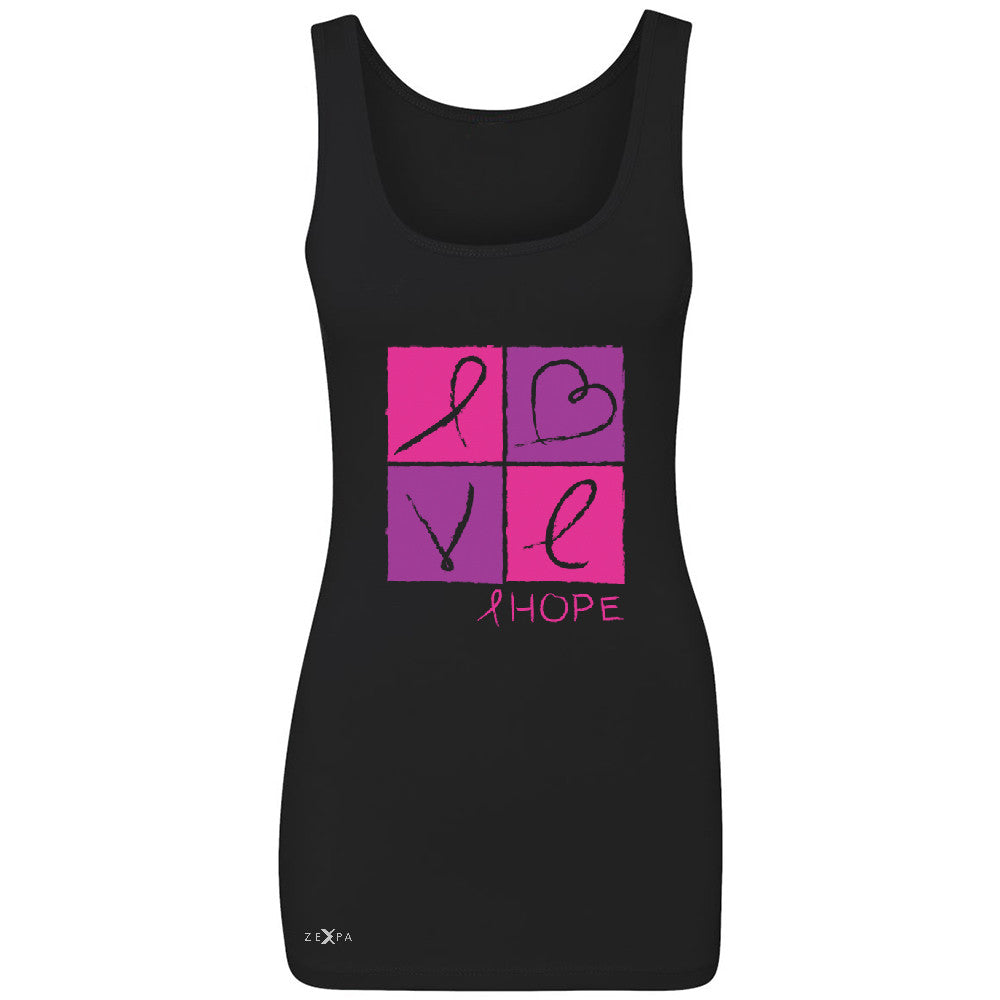 Hope Love Women's Tank Top Breast Cancer Awareness Month Support Sleeveless - Zexpa Apparel - 1