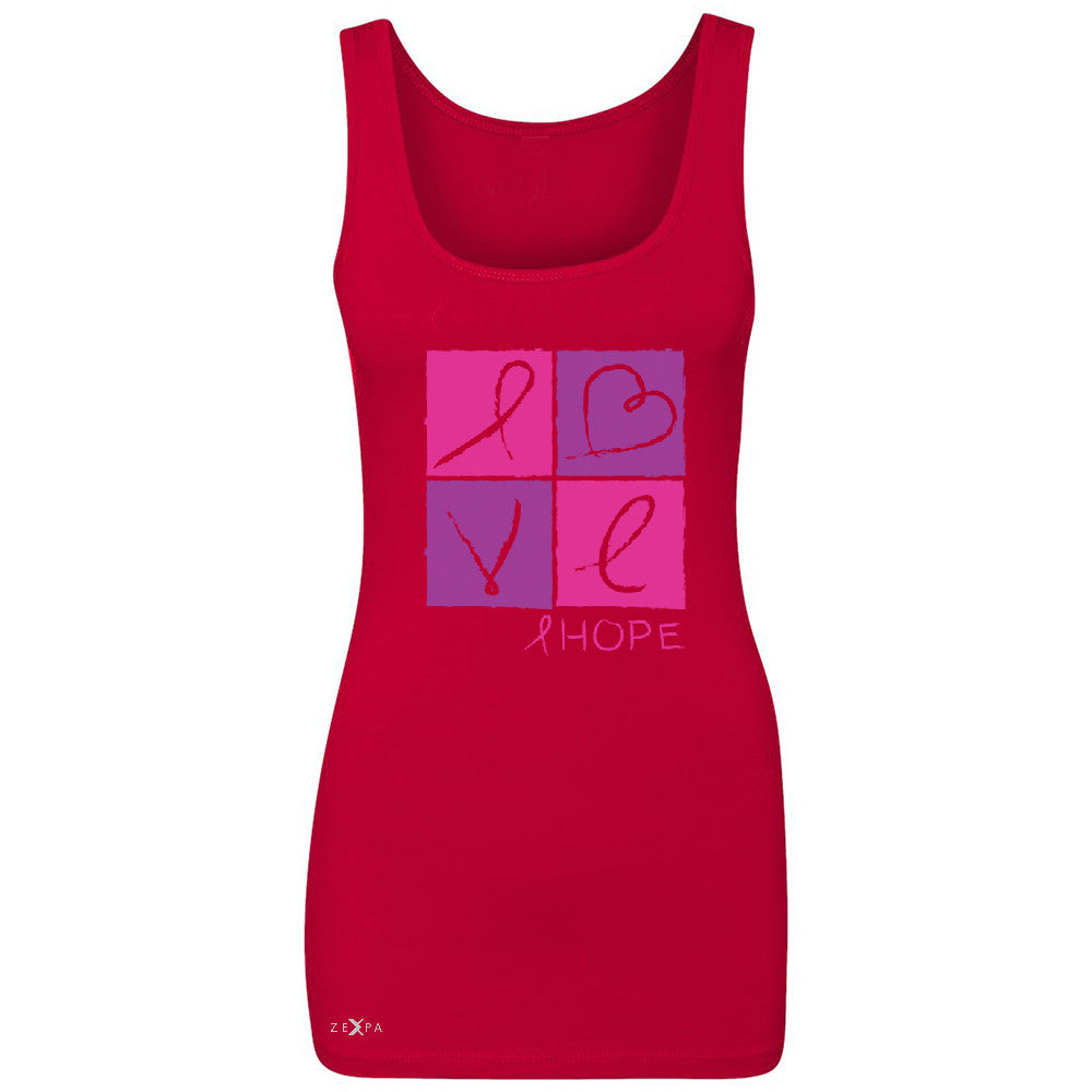 Hope Love Women's Tank Top Breast Cancer Awareness Month Support Sleeveless - Zexpa Apparel - 3