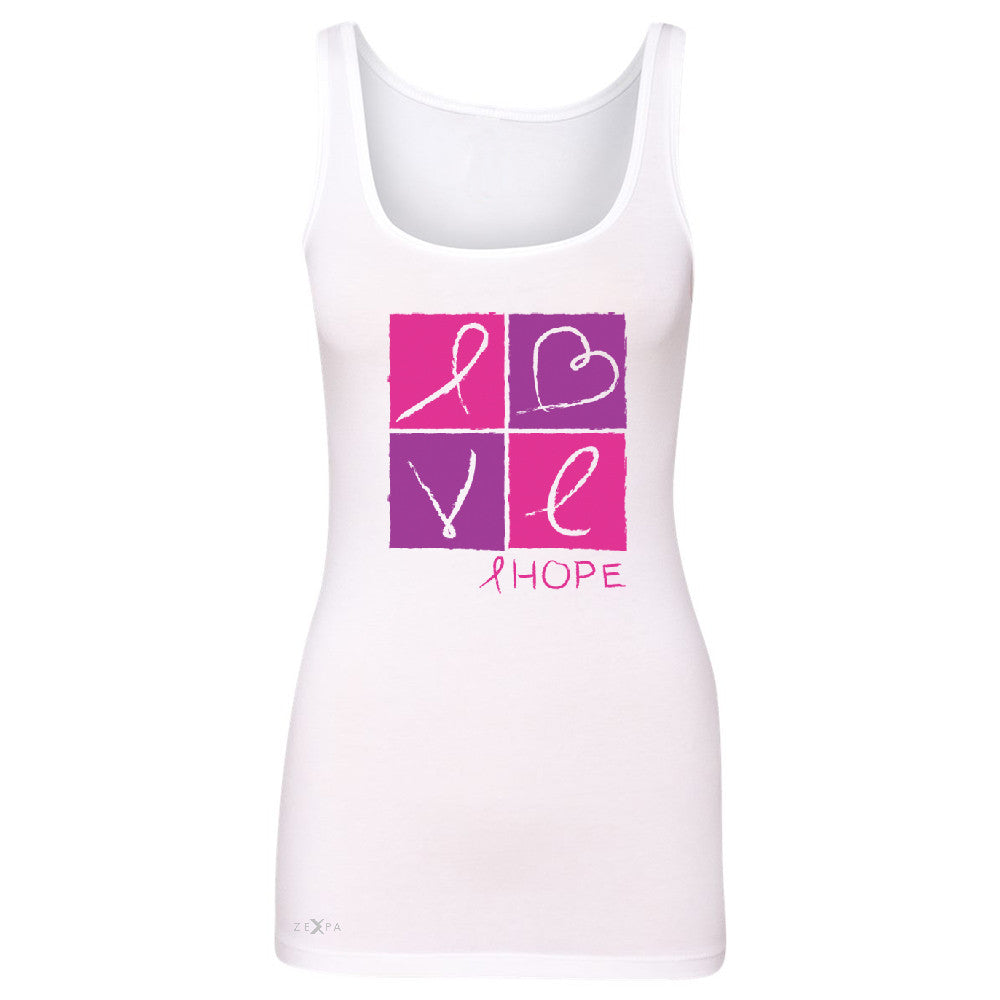 Hope Love Women's Tank Top Breast Cancer Awareness Month Support Sleeveless - Zexpa Apparel - 4