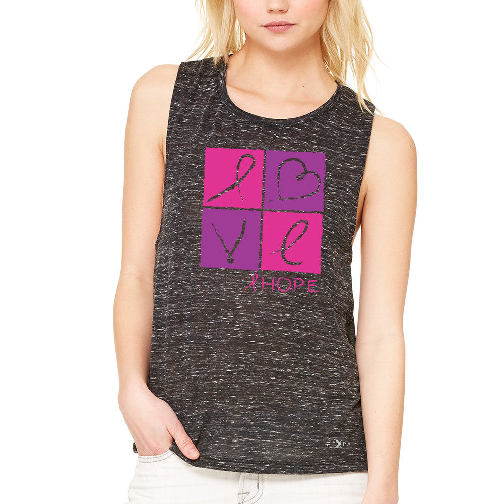 Hope Love Women's Muscle Tee Breast Cancer Awareness Month Support Tanks - Zexpa Apparel - 3
