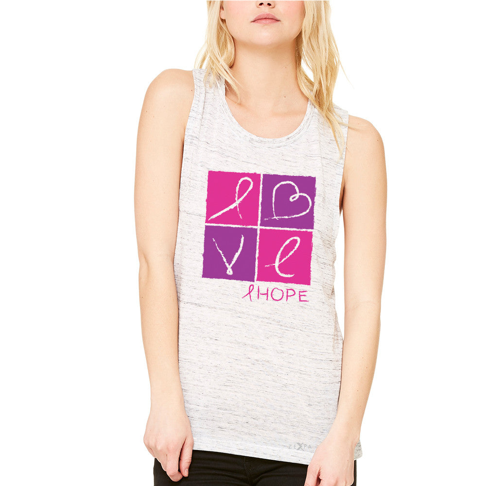 Hope Love Women's Muscle Tee Breast Cancer Awareness Month Support Tanks - Zexpa Apparel - 5